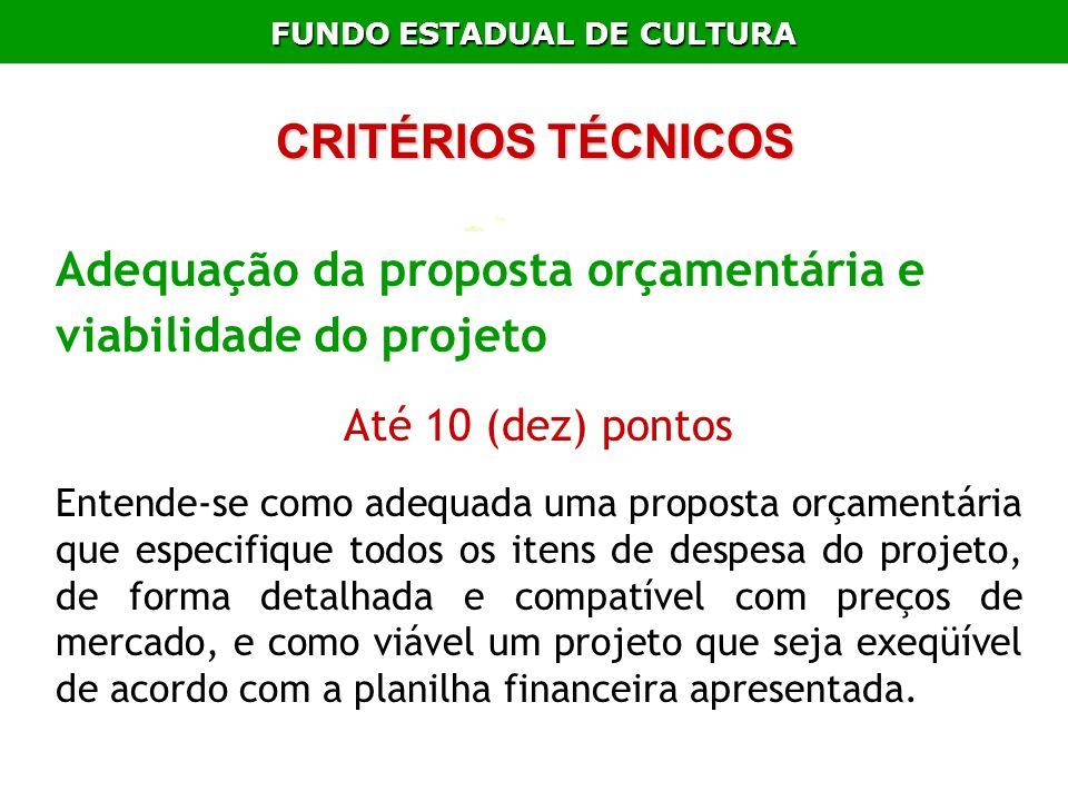 FUNDO ESTADUAL DE CULTURA Adequação da proposta orçamentária e viabilidade do projeto Até 10 (dez) pontos Entende-se como adequada uma proposta orçame