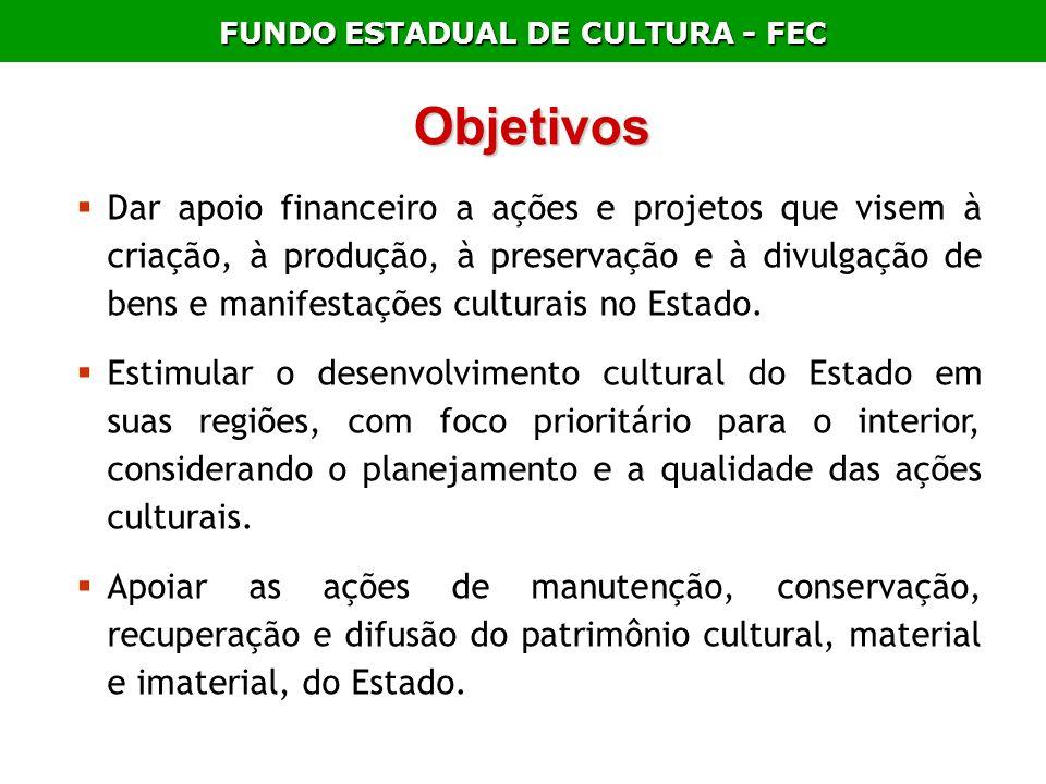 FUNDO ESTADUAL DE CULTURA - FEC Dar apoio financeiro a ações e projetos que visem à criação, à produção, à preservação e à divulgação de bens e manife