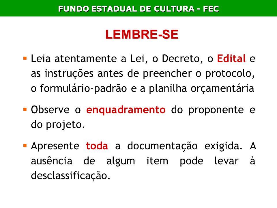 FUNDO ESTADUAL DE CULTURA - FEC LEMBRE-SE Leia atentamente a Lei, o Decreto, o Edital e as instruções antes de preencher o protocolo, o formulário-pad