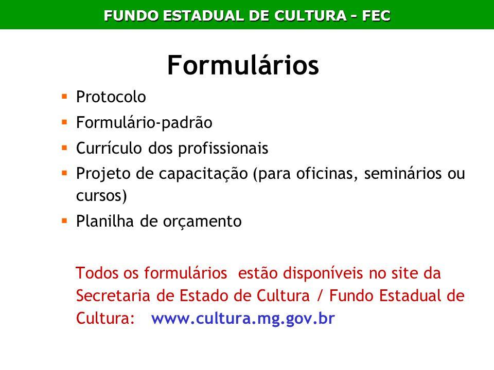 Formulários Protocolo Formulário-padrão Currículo dos profissionais Projeto de capacitação (para oficinas, seminários ou cursos) Planilha de orçamento