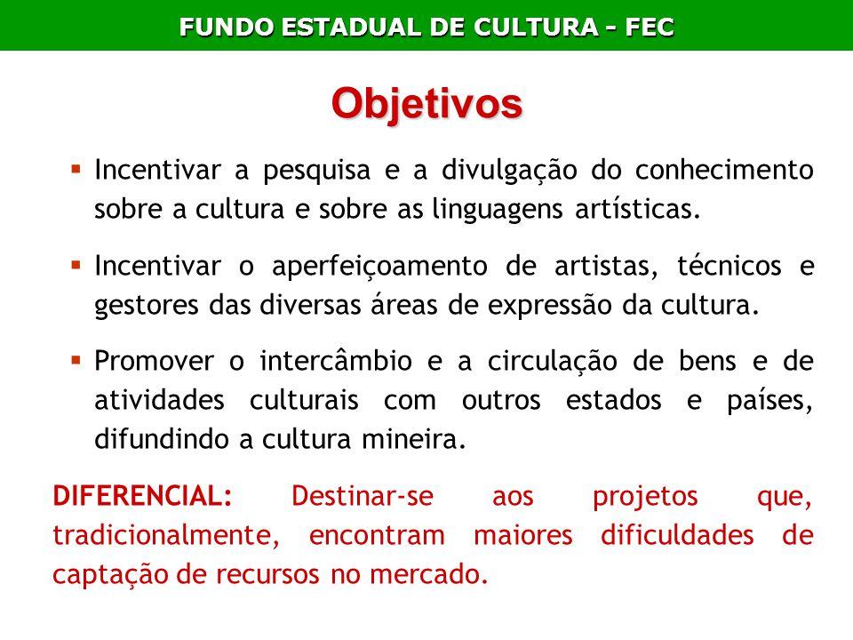 FUNDO ESTADUAL DE CULTURA - FEC Objetivos Incentivar a pesquisa e a divulgação do conhecimento sobre a cultura e sobre as linguagens artísticas. Incen