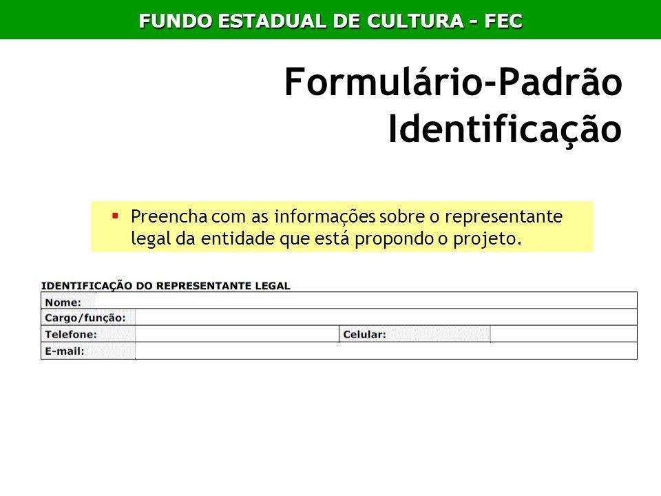 Formulário-Padrão Identificação Preencha com as informações sobre o representante legal da entidade que está propondo o projeto. FUNDO ESTADUAL DE CUL