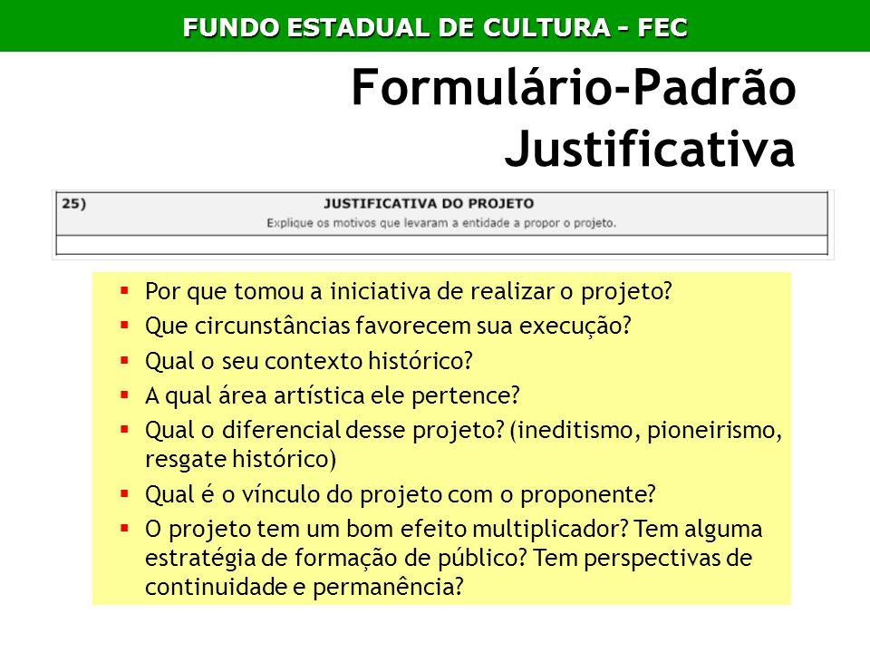 Formulário-Padrão Justificativa Por que tomou a iniciativa de realizar o projeto? Que circunstâncias favorecem sua execução? Qual o seu contexto histó