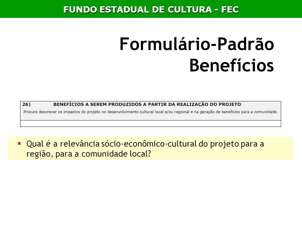 Formulário-Padrão Benefícios Qual é a relevância sócio-econômico-cultural do projeto para a região, para a comunidade local? FUNDO ESTADUAL DE CULTURA
