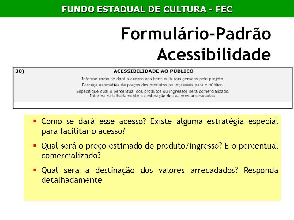 Formulário-Padrão Acessibilidade Como se dará esse acesso? Existe alguma estratégia especial para facilitar o acesso? Qual será o preço estimado do pr