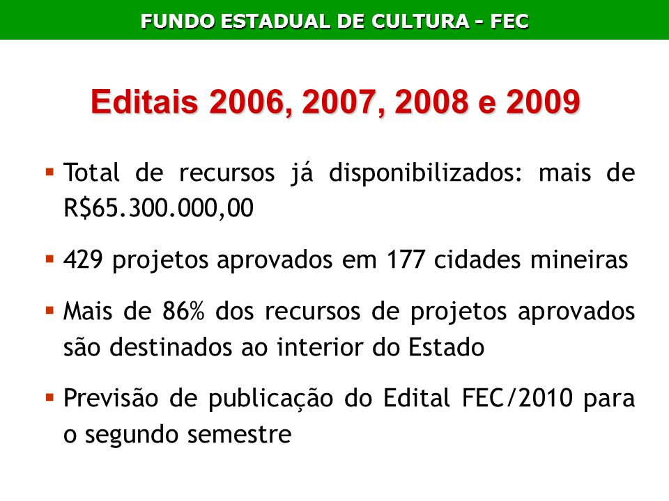FUNDO ESTADUAL DE CULTURA - FEC Editais 2006, 2007, 2008 e 2009 Total de recursos já disponibilizados: mais de R$65.300.000,00 429 projetos aprovados