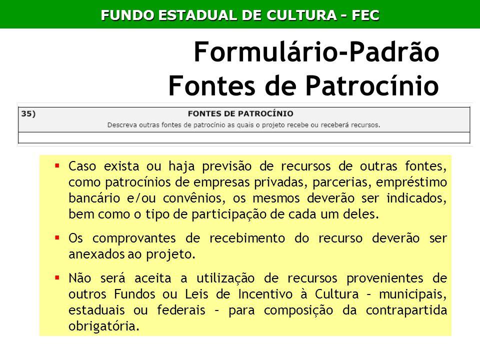 Formulário-Padrão Fontes de Patrocínio Caso exista ou haja previsão de recursos de outras fontes, como patrocínios de empresas privadas, parcerias, em