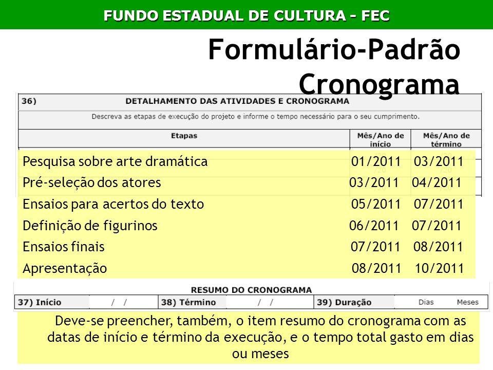 Deve-se preencher, também, o item resumo do cronograma com as datas de início e término da execução, e o tempo total gasto em dias ou meses Formulário