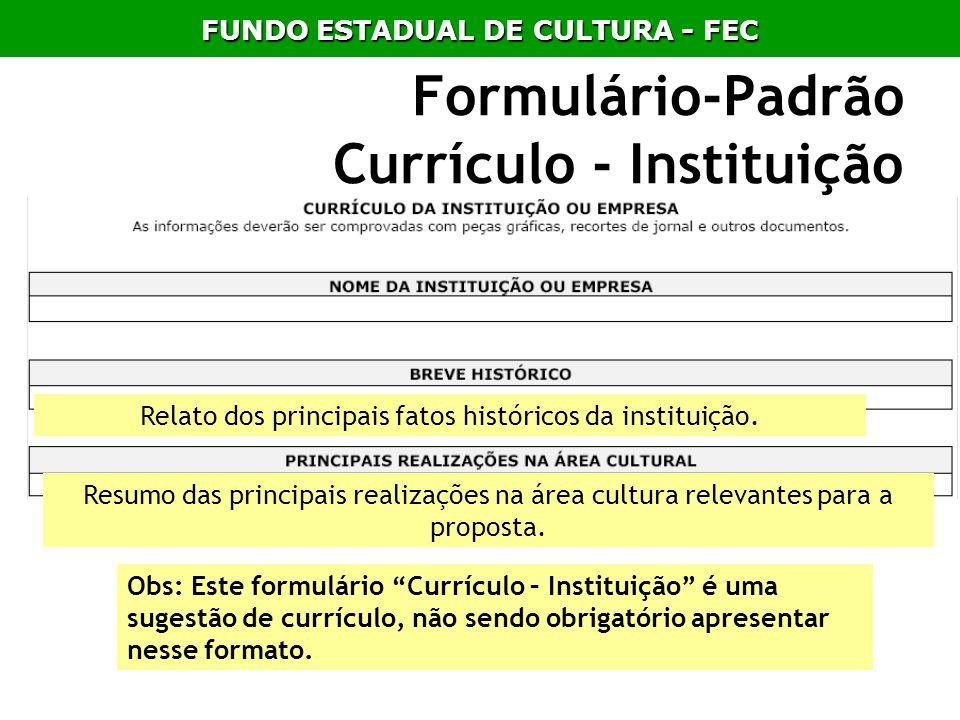 Formulário-Padrão Currículo - Instituição Obs: Este formulário Currículo – Instituição é uma sugestão de currículo, não sendo obrigatório apresentar n