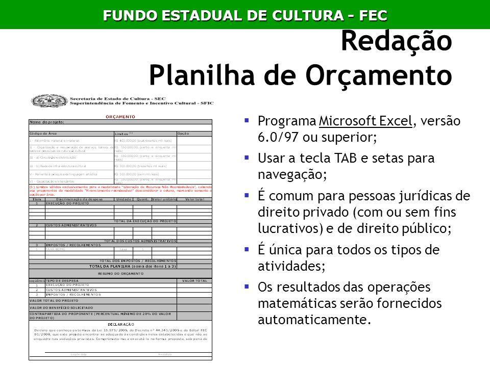 Redação Planilha de Orçamento Programa Microsoft Excel, versão 6.0/97 ou superior; Usar a tecla TAB e setas para navegação; É comum para pessoas juríd