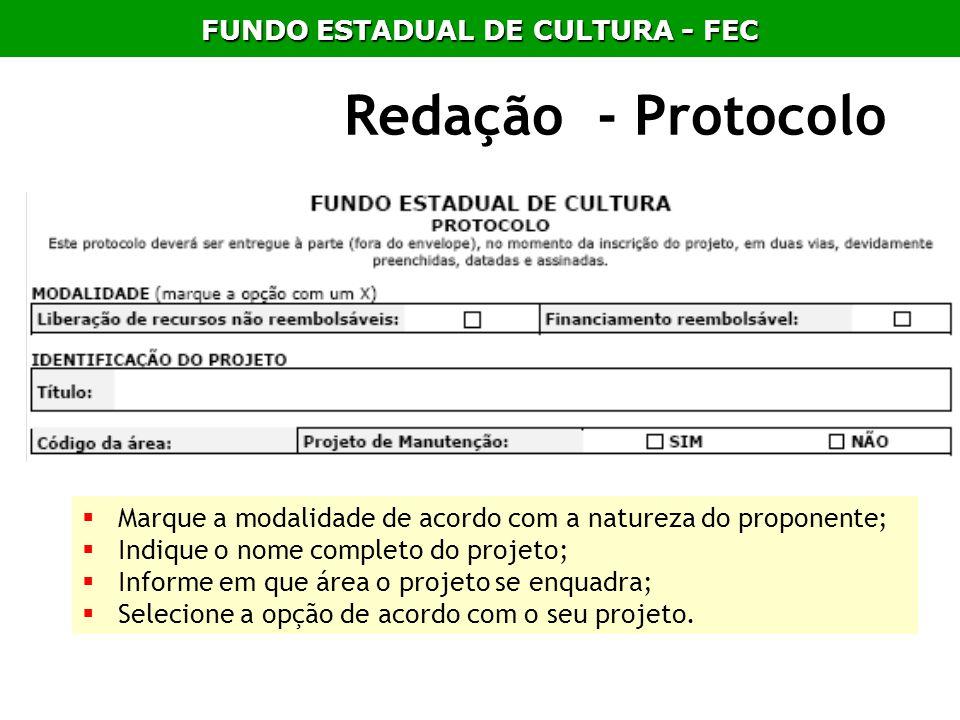 Redação - Protocolo Marque a modalidade de acordo com a natureza do proponente; Indique o nome completo do projeto; Informe em que área o projeto se e