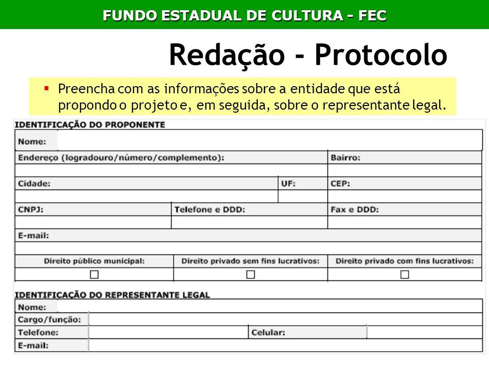 Redação - Protocolo Preencha com as informações sobre a entidade que está propondo o projeto e, em seguida, sobre o representante legal. FUNDO ESTADUA