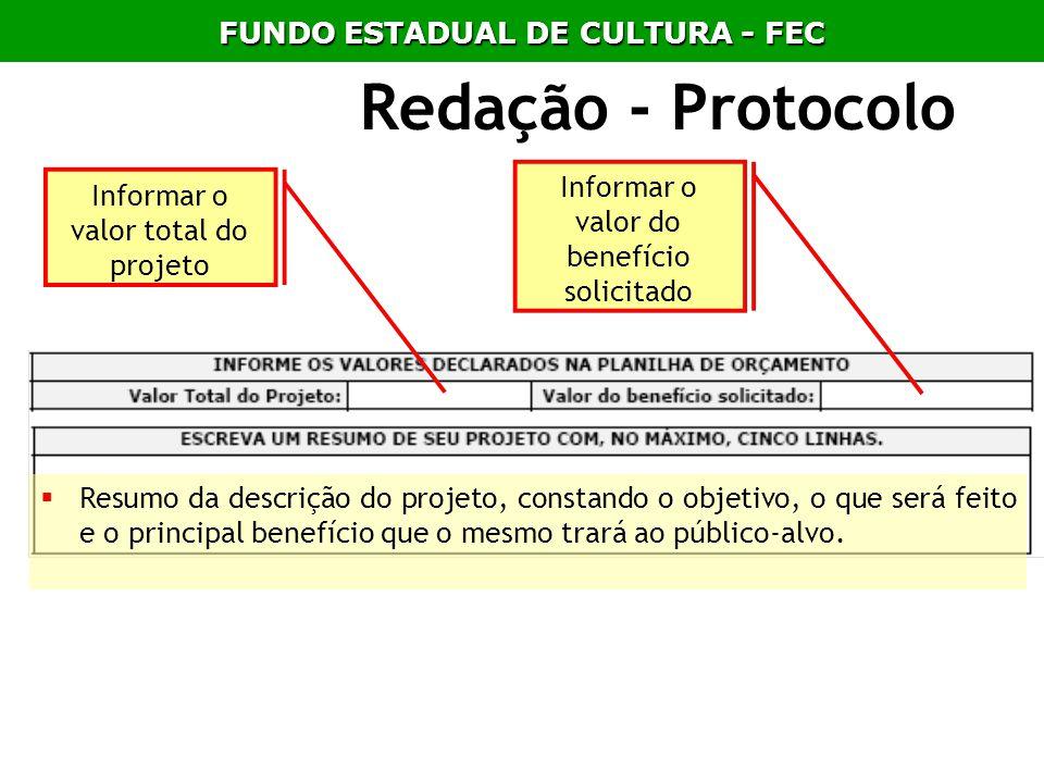 Redação - Protocolo Resumo da descrição do projeto, constando o objetivo, o que será feito e o principal benefício que o mesmo trará ao público-alvo.