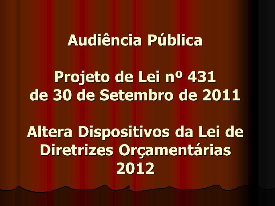 Audiência Pública Projeto de Lei nº 431 de 30 de Setembro de 2011 Altera Dispositivos da Lei de Diretrizes Orçamentárias 2012