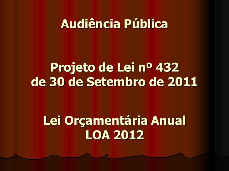 Audiência Pública Projeto de Lei nº 432 de 30 de Setembro de 2011 Lei Orçamentária Anual LOA 2012