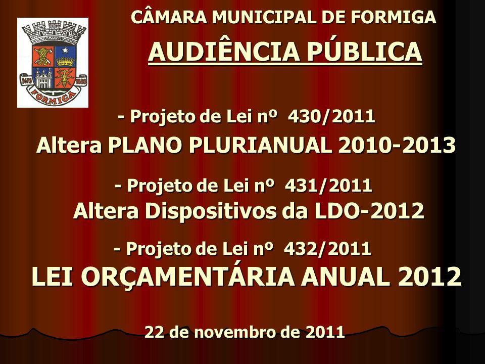 CÂMARA MUNICIPAL DE FORMIGA AUDIÊNCIA PÚBLICA - Projeto de Lei nº 430/2011 Altera PLANO PLURIANUAL 2010-2013 - Projeto de Lei nº 431/2011 Altera Dispositivos da LDO-2012 - Projeto de Lei nº 432/2011 LEI ORÇAMENTÁRIA ANUAL 2012 22 de novembro de 2011 CÂMARA MUNICIPAL DE FORMIGA AUDIÊNCIA PÚBLICA - Projeto de Lei nº 430/2011 Altera PLANO PLURIANUAL 2010-2013 - Projeto de Lei nº 431/2011 Altera Dispositivos da LDO-2012 - Projeto de Lei nº 432/2011 LEI ORÇAMENTÁRIA ANUAL 2012 22 de novembro de 2011