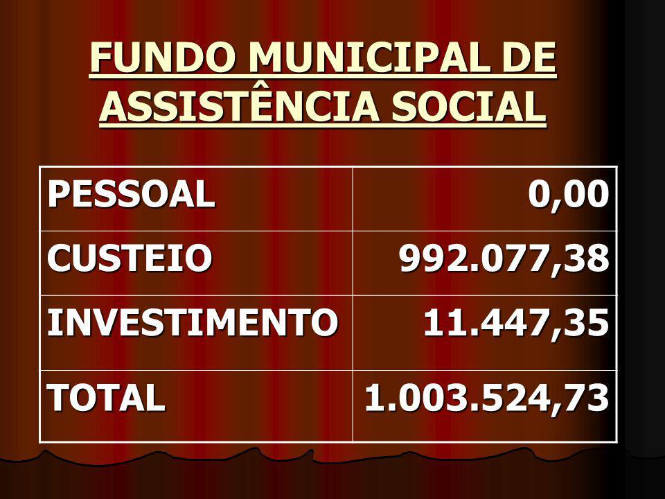 FUNDO MUNICIPAL DE ASSISTÊNCIA SOCIAL PESSOAL0,00 CUSTEIO992.077,38 INVESTIMENTO11.447,35 TOTAL1.003.524,73