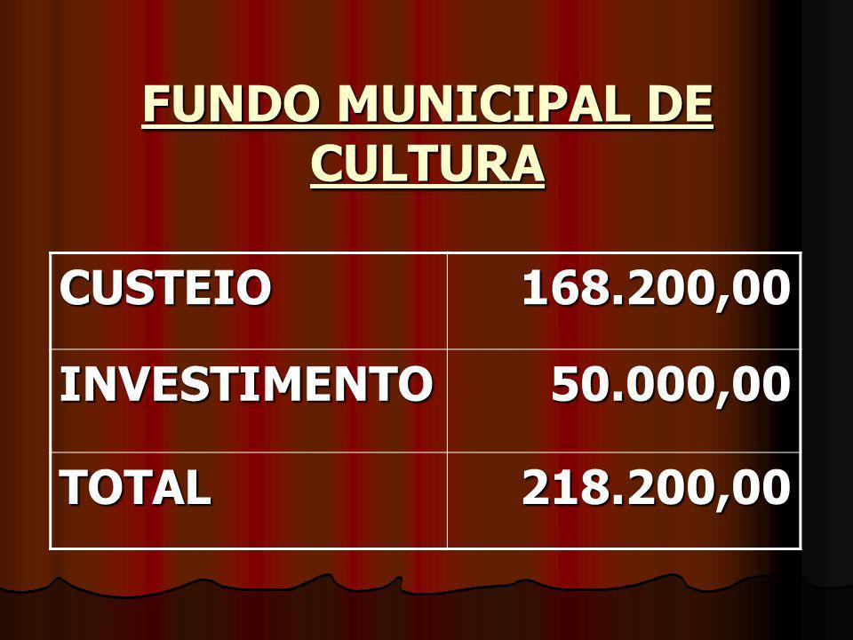 FUNDO MUNICIPAL DE CULTURA CUSTEIO168.200,00 INVESTIMENTO50.000,00 TOTAL218.200,00
