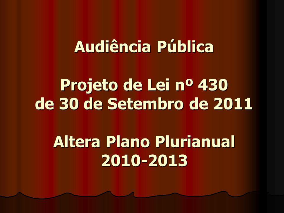 Audiência Pública Projeto de Lei nº 430 de 30 de Setembro de 2011 Altera Plano Plurianual 2010-2013