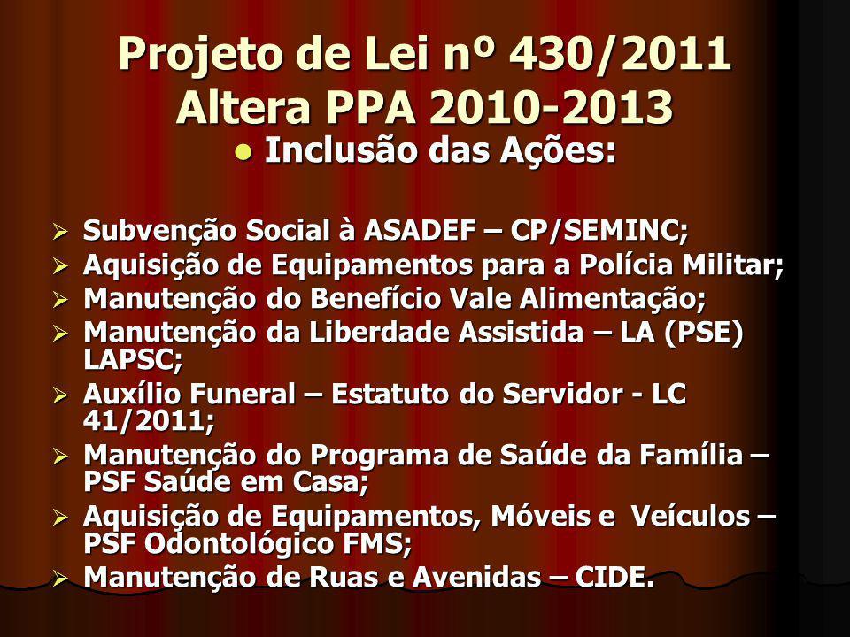 Projeto de Lei nº 430/2011 Altera PPA 2010-2013 Inclusão das Ações: Inclusão das Ações: Subvenção Social à ASADEF – CP/SEMINC; Subvenção Social à ASAD