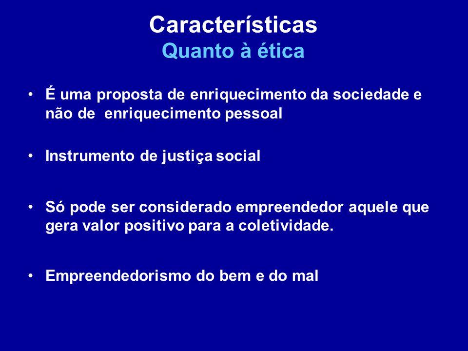É uma proposta de enriquecimento da sociedade e não de enriquecimento pessoal Instrumento de justiça social Só pode ser considerado empreendedor aquele que gera valor positivo para a coletividade.