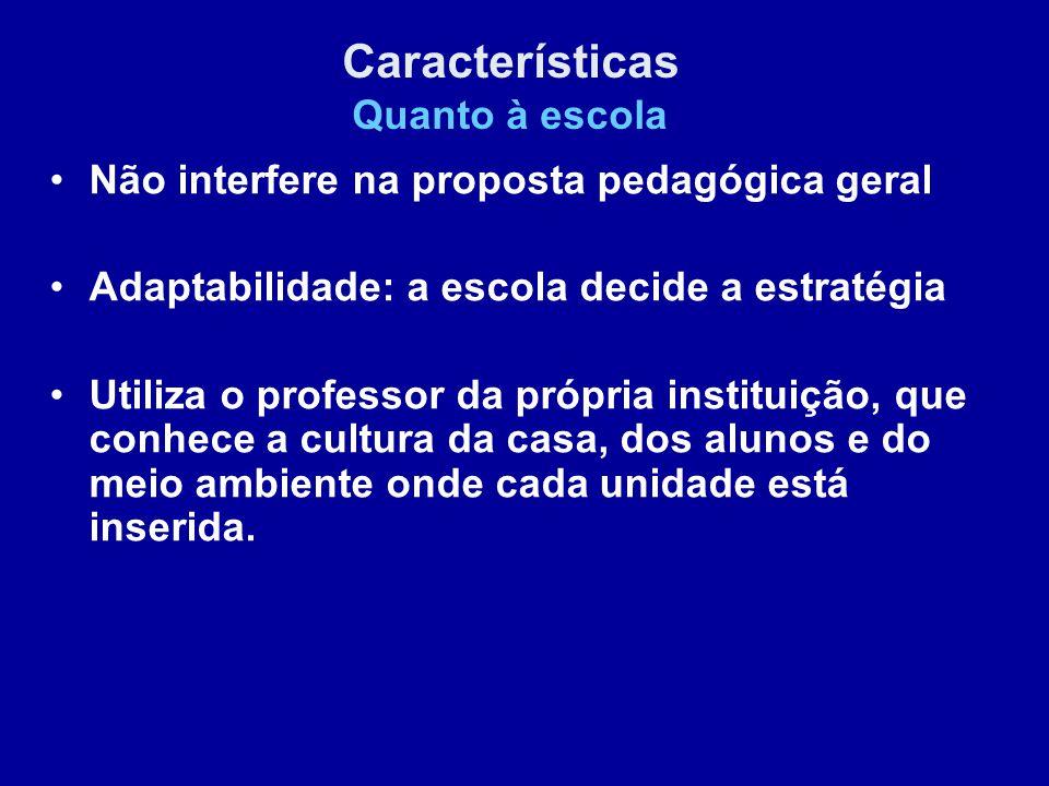 Não interfere na proposta pedagógica geral Adaptabilidade: a escola decide a estratégia Utiliza o professor da própria instituição, que conhece a cult