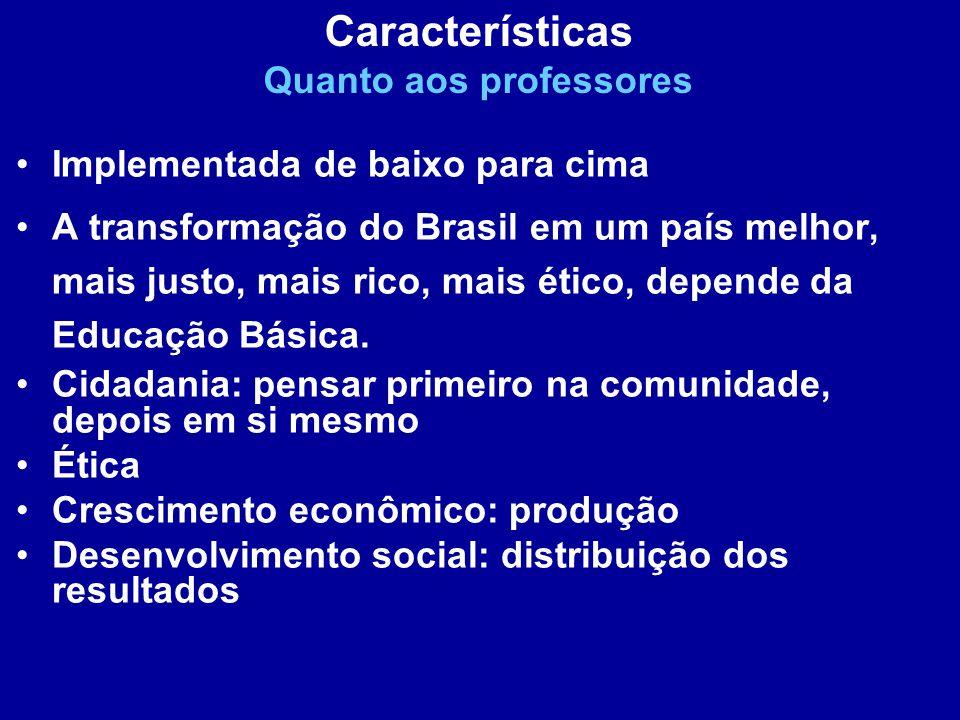 Implementada de baixo para cima A transformação do Brasil em um país melhor, mais justo, mais rico, mais ético, depende da Educação Básica. Cidadania: