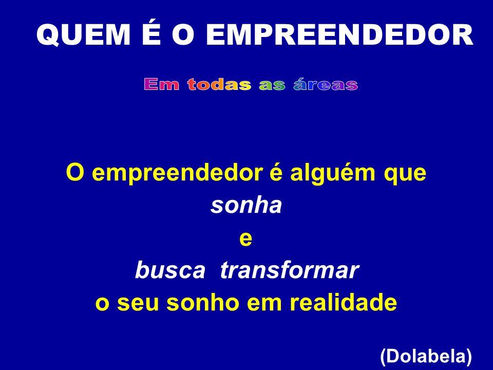 O empreendedor é alguém que sonha e busca transformar o seu sonho em realidade (Dolabela) QUEM É O EMPREENDEDOR