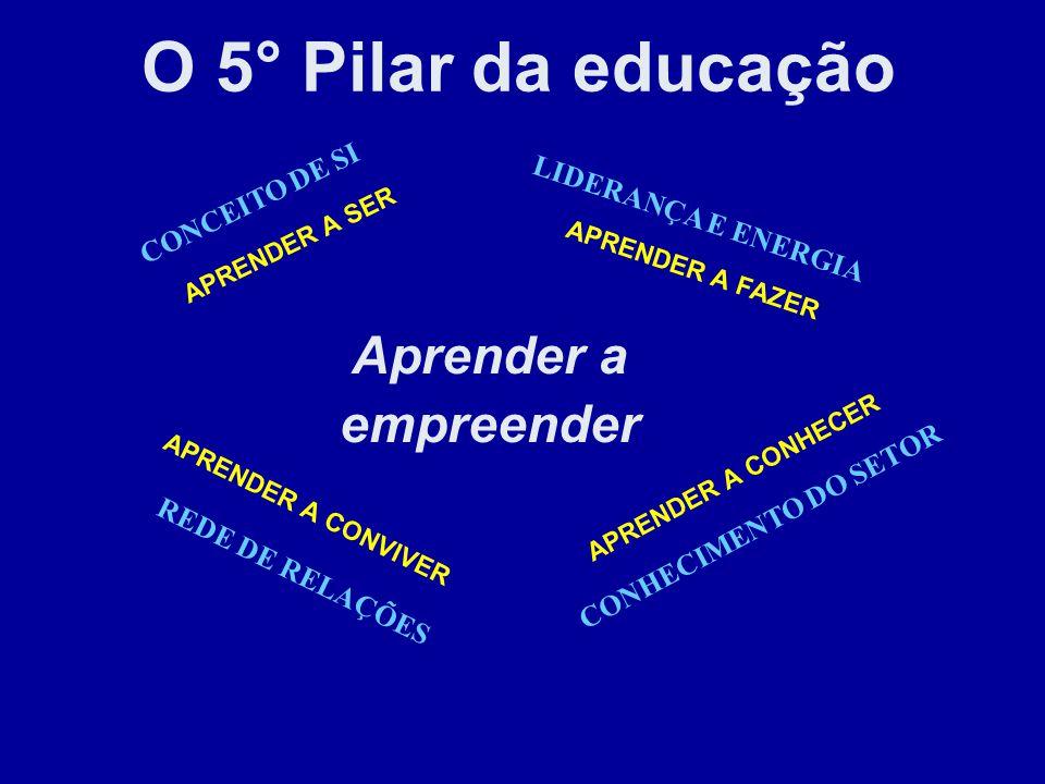 APRENDER A SER LIDERANÇA E ENERGIA APRENDER A CONVIVER CONHECIMENTO DO SETOR Aprender a empreender O 5° Pilar da educação CONCEITO DE SI APRENDER A FA