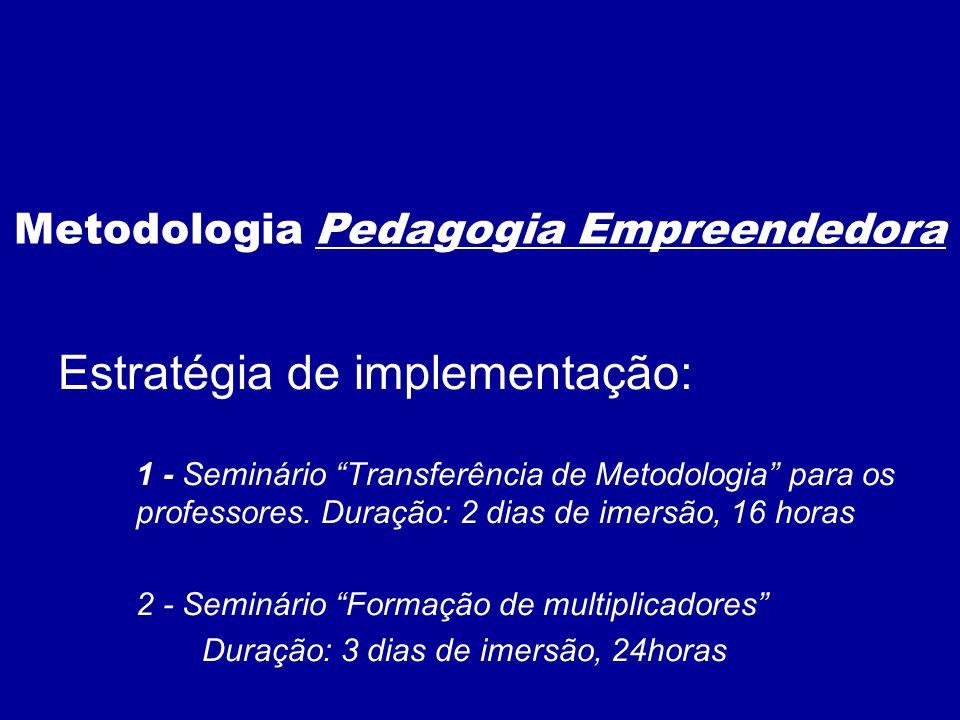 Estratégia de implementação: 1 - Seminário Transferência de Metodologia para os professores. Duração: 2 dias de imersão, 16 horas 2 - Seminário Formaç
