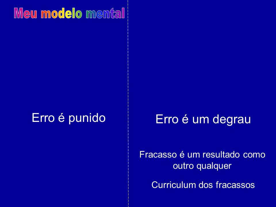 Erro é punido Fracasso é um resultado como outro qualquer Erro é um degrau Curriculum dos fracassos