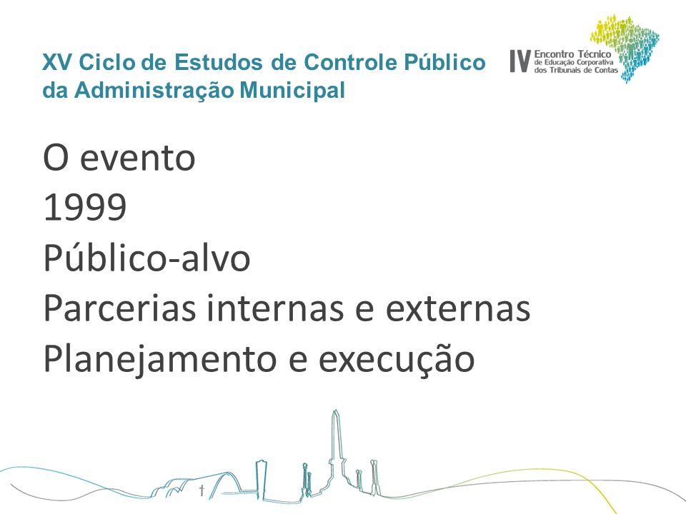 XV Ciclo de Estudos de Controle Público da Administração Municipal O evento 1999 Público-alvo Parcerias internas e externas Planejamento e execução