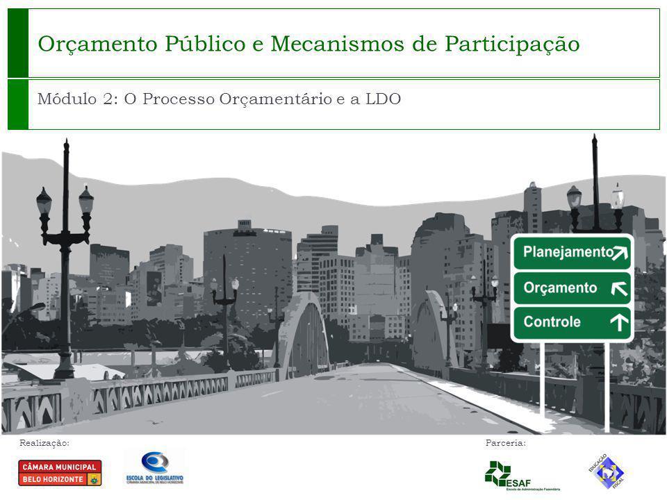 Realização: Parceria: Orçamento Público e Mecanismos de Participação Módulo 2: O Processo Orçamentário e a LDO