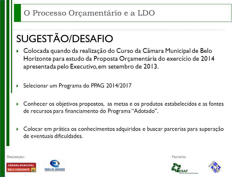 Realização: Parceria: SUGESTÃO/DESAFIO Colocada quando da realização do Curso da Câmara Municipal de Belo Horizonte para estudo da Proposta Orçamentária do exercício de 2014 apresentada pelo Executivo, em setembro de 2013.