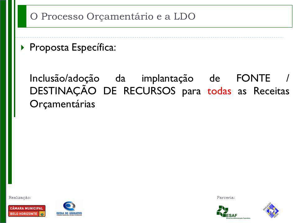 Realização: Parceria: Proposta Específica: Inclusão/adoção da implantação de FONTE / DESTINAÇÃO DE RECURSOS para todas as Receitas Orçamentárias O Processo Orçamentário e a LDO