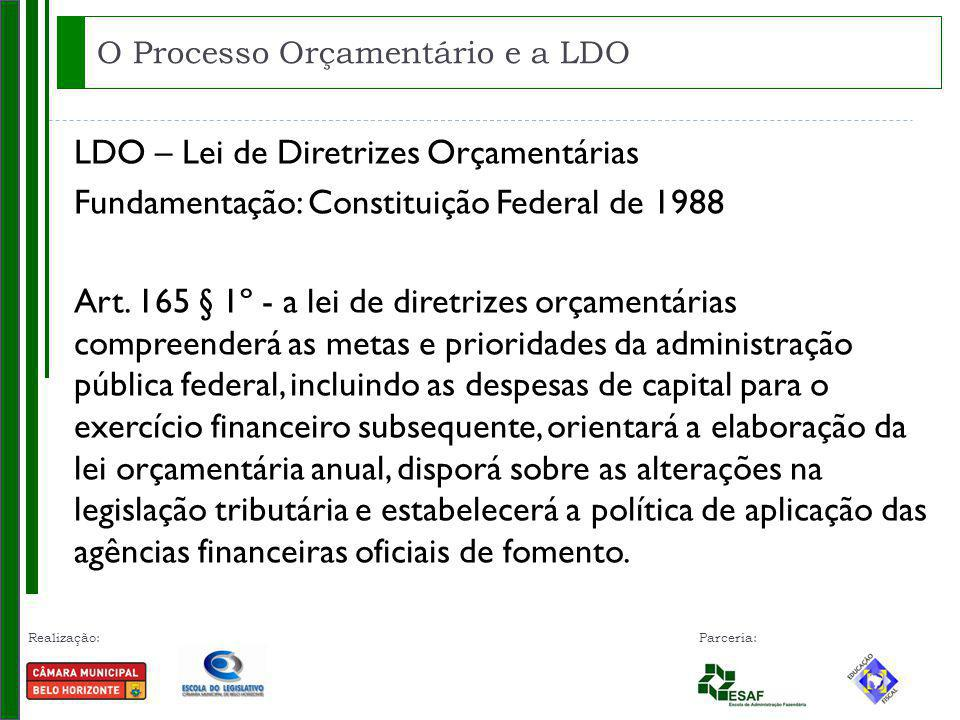 Realização: Parceria: LDO – Lei de Diretrizes Orçamentárias Fundamentação: Constituição Federal de 1988 Art. 165 § 1º - a lei de diretrizes orçamentár