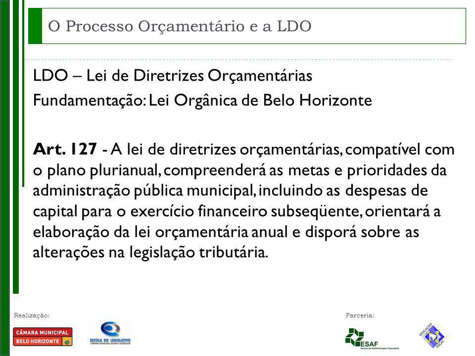 Realização: Parceria: LDO – Lei de Diretrizes Orçamentárias Fundamentação: Lei Orgânica de Belo Horizonte Art. 127 - A lei de diretrizes orçamentárias