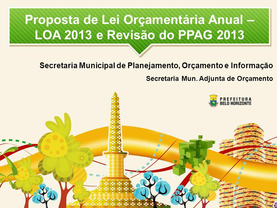 Proposta de Lei Orçamentária Anual – LOA 2013 e Revisão do PPAG 2013 Secretaria Municipal de Planejamento, Orçamento e Informação Secretaria Mun. Adju