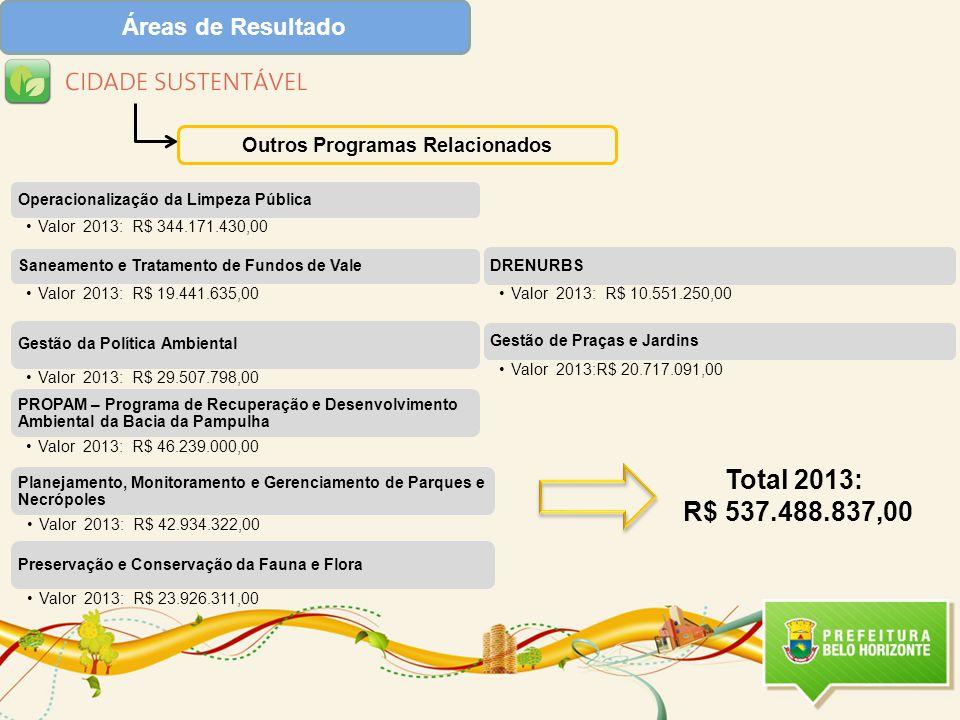 Áreas de Resultado Outros Programas Relacionados Total 2013: R$ 537.488.837,00