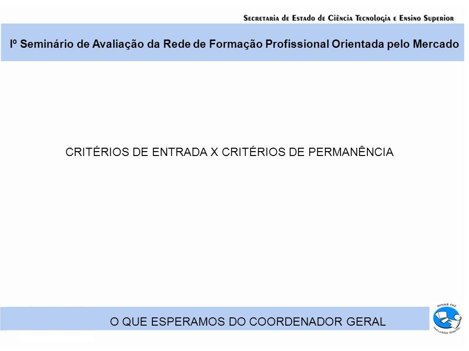 Iº Seminário de Avaliação da Rede de Formação Profissional Orientada pelo Mercado O QUE ESPERAMOS DO COORDENADOR GERAL CRITÉRIOS DE ENTRADA X CRITÉRIOS DE PERMANÊNCIA