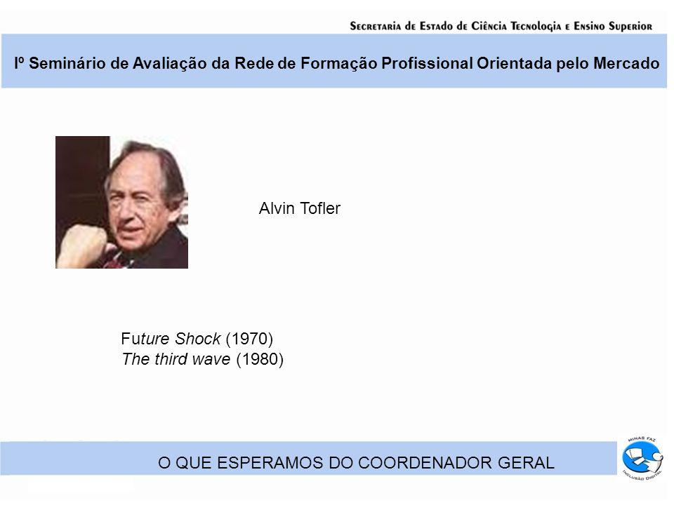 Iº Seminário de Avaliação da Rede de Formação Profissional Orientada pelo Mercado O QUE ESPERAMOS DO COORDENADOR GERAL Future Shock (1970) The third wave (1980) Alvin Tofler