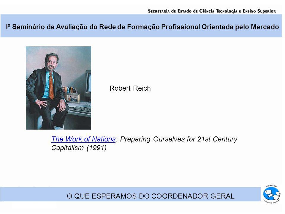 Iº Seminário de Avaliação da Rede de Formação Profissional Orientada pelo Mercado O QUE ESPERAMOS DO COORDENADOR GERAL The Work of NationsThe Work of Nations: Preparing Ourselves for 21st Century Capitalism (1991) Robert Reich