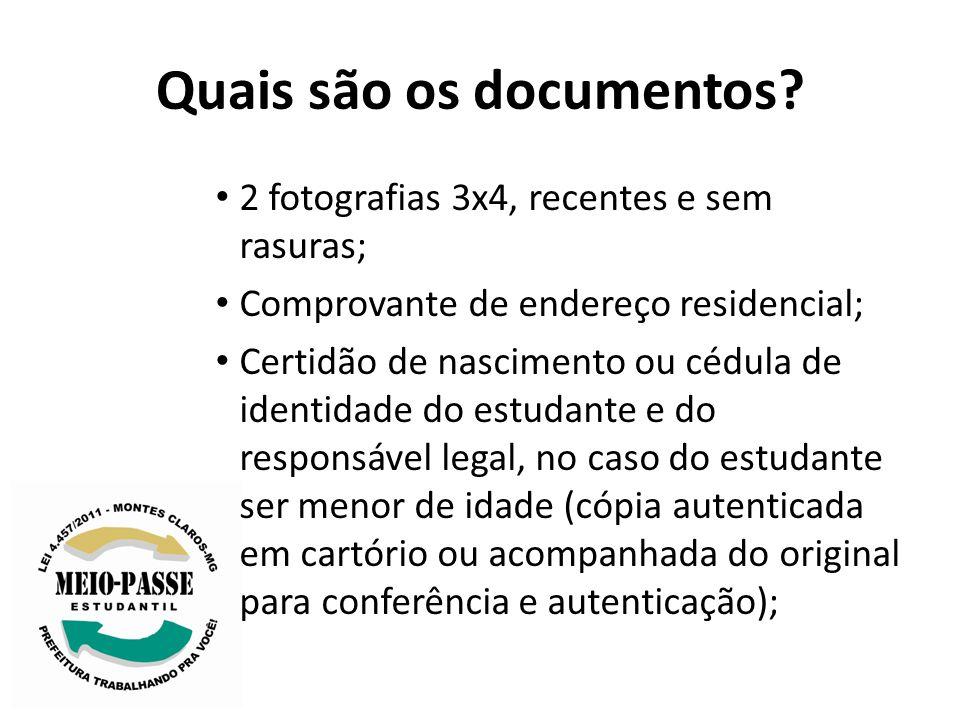 Quais são os documentos? 2 fotografias 3x4, recentes e sem rasuras; Comprovante de endereço residencial; Certidão de nascimento ou cédula de identidad