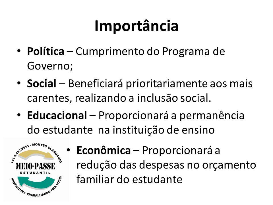 Importância Política – Cumprimento do Programa de Governo; Social – Beneficiará prioritariamente aos mais carentes, realizando a inclusão social. Educ