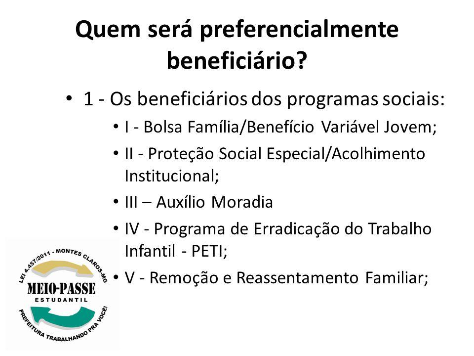 Quem será preferencialmente beneficiário? 1 - Os beneficiários dos programas sociais: I - Bolsa Família/Benefício Variável Jovem; II - Proteção Social