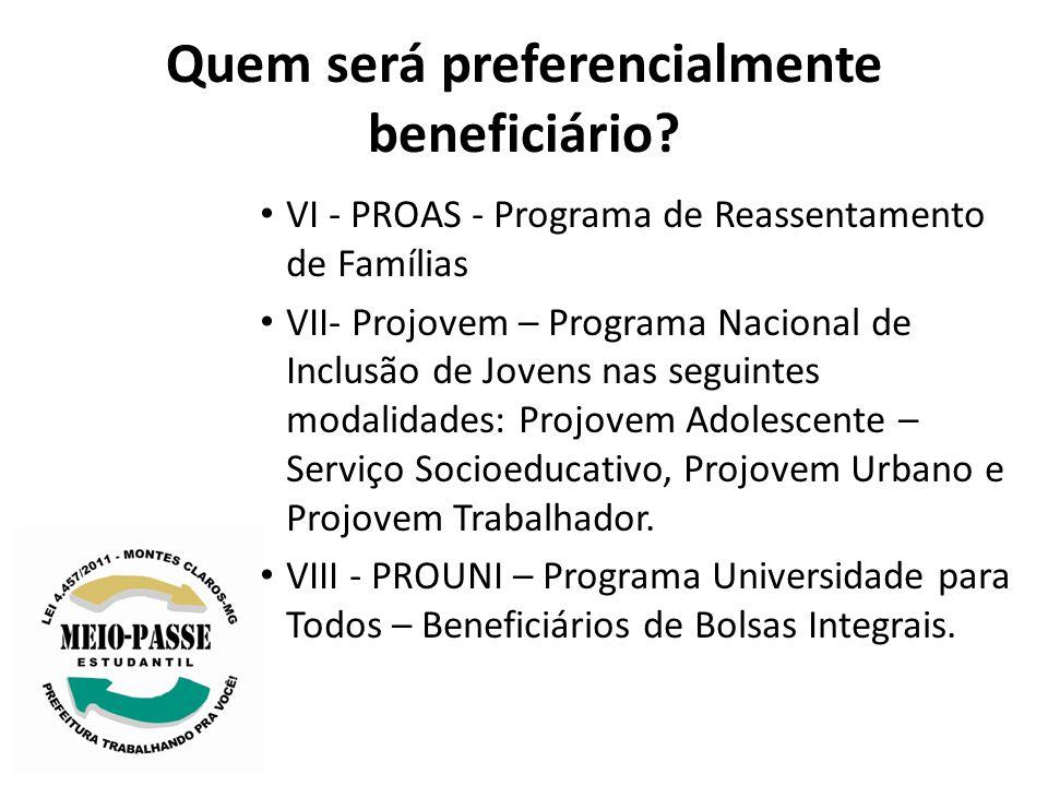Quem será preferencialmente beneficiário? VI - PROAS - Programa de Reassentamento de Famílias VII- Projovem – Programa Nacional de Inclusão de Jovens