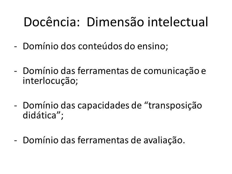 Docência: Dimensão intelectual -Domínio dos conteúdos do ensino; -Domínio das ferramentas de comunicação e interlocução; -Domínio das capacidades de t