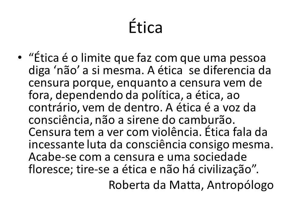 Ética Ética é o limite que faz com que uma pessoa diga não a si mesma.