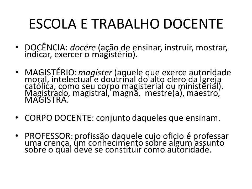 ESCOLA E TRABALHO DOCENTE DOCÊNCIA: docére (ação de ensinar, instruir, mostrar, indicar, exercer o magistério).