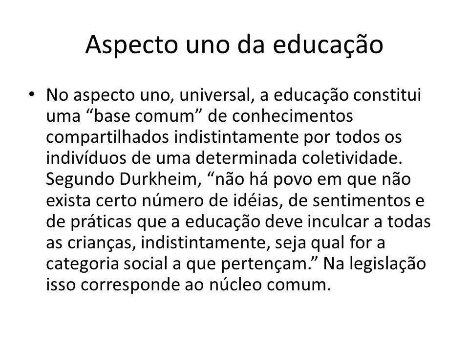 Aspecto uno da educação No aspecto uno, universal, a educação constitui uma base comum de conhecimentos compartilhados indistintamente por todos os indivíduos de uma determinada coletividade.
